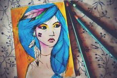 Colour Girl Pencil Drawing by Olenka More here: https://www.facebook.com/pages/Olenka/647167888679052