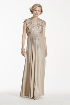 339c77588d Modern lace tank bodice with matching cap sleeve jacket. Long Metallic  jersey skirt makes this an elegant mother of the bride dress.