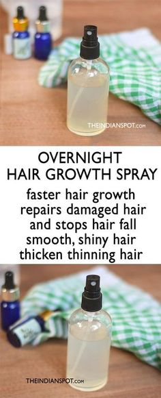 Who doesn't wish to have lustrous, thick and healthy hair? If you aren't naturally blessed with thick hair or if you are suffering from hair issues like hair fall, stunt hair growth, hair breakage etc. its time you try some natural and effective hair reme Hair Growth Oil, Natural Hair Growth, Homemade Hair Spray, Overnight Hair Growth, Overnight Hair Mask, Overnight Hairstyles, Essential Oils For Hair, Hair Remedies For Growth, Healthy Hair Remedies