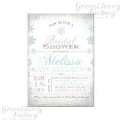Winter Typography Bridal Shower Invitation - Vintage Blue Snow Baby Shower Birthday Invitation - No.264. $15.00, via Etsy.