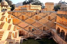 Stairs by Yitzhak Avigur - Old water reservoir, located in a small village behind the Amber Fort, Rajasthan, India.
