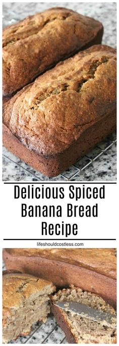 Easy Spiced Banana Bread Recipe Delicious Spiced Banana Bread recipe with cinnamon and nutmeg! It's so tasty, it will most likely be gone before it even cools. Cinnamon Banana Bread, Easy Banana Bread, Banana Bread Recipes, Spice Bread, Cinnamon Recipes, Gluten Free Baking, Healthy Baking, Baking Flour, Yummy Food