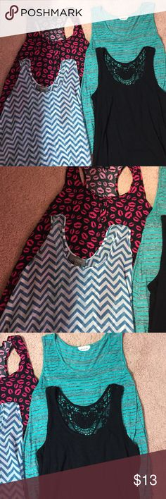 Lot of 4 tanks All size medium and all in excellent condition. Black one still has tags never worn and has a lacy back. Chevron tank is on the sheer side. Lip tank is from H&M and is racerback. Tops Tank Tops