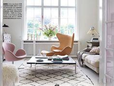 Egg chair inside Fritz Hansen CEO's home.