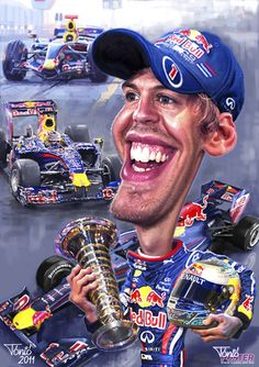 TOONPOOL Cartoons - Sebastian Vettel 2011 poster by Tonio, tagged - Category Sports - rated / Funny Caricatures, Celebrity Caricatures, Funny Art, The Funny, Wtf Face, Michael Schumacher, Red Bull Racing, Funny Illustration, Weird Pictures