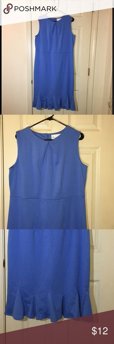 Blue Ponte Knit Dress By Roamans Size 16W Dress from Roamans.  Light blue, Ponte knit.  Sleeveless.  Kick pleats at hemline.  Size 16W.  Dress is 45 inches long.   Excellent condition.  Important:   All items are freshly laundered as applicable prior to shipping (new items and shoes excluded).  Not all my items are from pet/smoke free homes.  Price is reduced to reflect this!   Thank you for looking! Roamans Dresses Midi