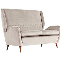 Gio Ponti 1940s Vintage Italian High Back Sofa in Light Grey Velvet | From a unique collection of antique and modern sofas at https://www.1stdibs.com/furniture/seating/sofas/
