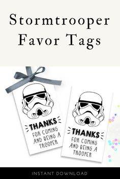 Star Wars Stormtrooper Party Favor Thank you Gift Tags. Digital download, make into labels or punch holes and tie on favors. #ad #starwars #partyfavors #stormtroopers