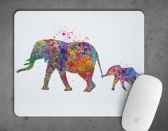 Elephant Family love gift Watercolor Mousepad Mouse Pad Art Print Decor express option gift Nursery Art mouse mat Mom and Baby Animal Art