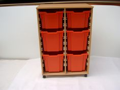 Classroom storage unit. Jumbo and deep tray storage tray unit, but can also take 20 Gratnells shallow trays if required