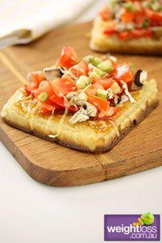 Crumpet Pizza. #HealthyRecipes #DietRecipes #WeightLossRecipes weightloss.com.au