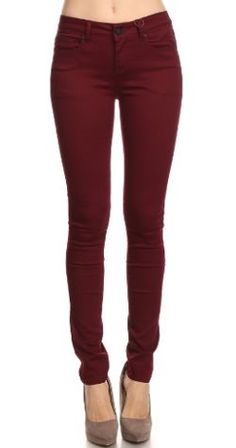 These premium burgundy denim jeans are cute and very comfortable. These sturdy jeans hug your curves like only a stretch jean could. The simple design allows you to keep it simple with a plain t-shirt