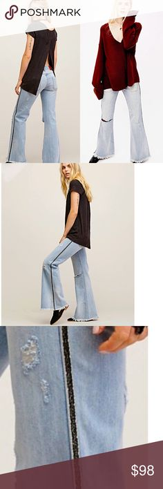Free People Florence flares by One Teaspoon, NWT A modern fit with a retro style, these jeans by One Teaspoon were designed exclusively for Free People. The raw hem allows us petite gals to Taylor them without the cost of a seamstress 😇 Free People Pants