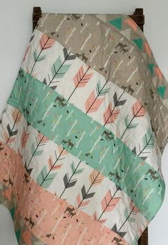 Baby Quilt, Birch Deer Forest, Woodland, Birch Trees, Mod, Coral, Mint, Gray, Baby Blanket, Baby Bedding, Crib Bedding, Nursery Quilt