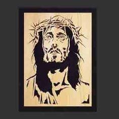 cuadro jesús, cristo, sagrado corazón, calado en madera