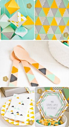 the shop sweet lulu blog: A Budget Friendly Geometric Crafternoon Diy Party Crafts, Diy And Crafts Sewing, Craft Party, Crafts To Sell, Craft Tutorials, Craft Projects, Paper Flower Tutorial, Crafts For Teens, Craft Videos