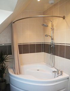 Comer Shower rod for corner tubshower with PVC pipe and