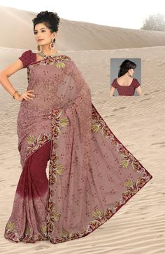 $113.5 Maroon Jacquard Saree 20623 With Unstitched Blouse