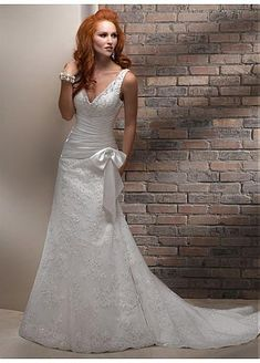 STUNNING SATIN TULLE V-NECK NECKLINE A-LINE WEDDING DRESS LACE FORMAL PROM PARTY BALL GOWN CUSTOM SIZE