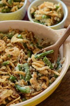 The Best Green Bean Casserole! You make your own cream of mushroom soup with portobello mushrooms and add sweet yellow onions and garlic. Then you stir in perfect fresh green beans and top it with crispy french fried onions!