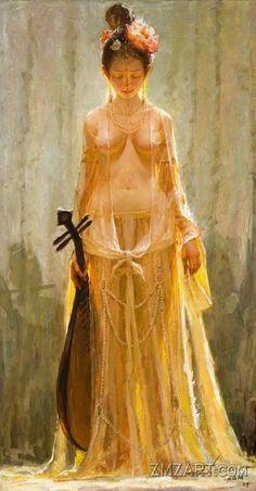 Yellow Pipa Court Dancer - Tang Dynasty Dun Huang by Chinese artist Tu Zhiwei
