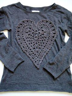 Inspiration: embellish a T-shirt. Pattern for a heart motif: http://omakoppa.blogspot.fi/2012/11/virkattu-suuri-sydan-ohje.html