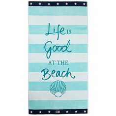 Lexington 'Life is Good' Beach Towel (£53) ❤ liked on Polyvore featuring home, bed & bath, bath, beach towels, beach, accessories, towel, blue and blue beach towel
