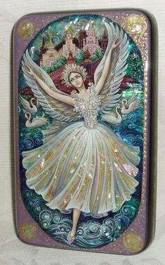 "Nice Russian Lacquer Box Kholui Ballet "" Swan Lake "" Miniature Hand Painted 