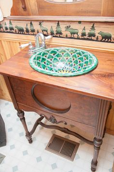 Beautiful Mexican Style Porcelain Sink Ed Into An Old Radio Cabinet Bathroom Pictures