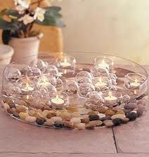 Large low centerpiece bowl with rocks in the bottom with multiple floating candles