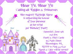 Princess & Knight Birthday Party Invitations