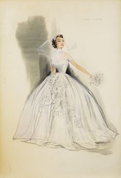 Buy online, view images and see past prices for Pair of Helen Rose costume sketches for Debbie Reynolds' wedding dress in The Tender Trap. Invaluable is the world's largest marketplace for art, antiques, and collectibles. Dress Sketches, Fashion Sketches, Vintage Dresses, Vintage Outfits, Vintage Fashion, Rose Costume, Helen Rose, Fashion Illustration Vintage, Wedding Illustration