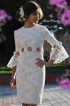 Prom Dresses Beautiful, Pink lace high low prom dress, homecoming dress in 2019 Lovely Dresses, Elegant Dresses, Lace Dress Styles, Beautiful Clothes, Dress Lace, Vestidos Vintage, Vintage Dresses, Short Dresses, Prom Dresses
