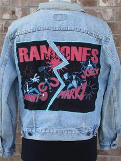 BAREFOOT VINTAGE ORIGINAL THE RAMONES TOUR JACKET LEVI'S 44R USA #401 $155.00
