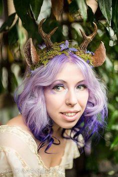 Moss and Flower Nymph Fawn Mini Antler & Ear Headband by idolatre Nymph Costume, Deer Costume, Headdress, Headpiece, Renaissance, Painting Plastic, Cosplay, Ear Headbands, Costume Makeup