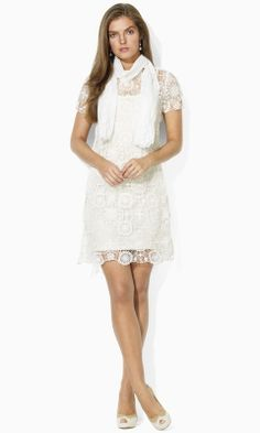 Helena Crochet Dress - Blue Label Sale - RalphLauren.com...I love white lace/crochet dresses!