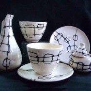 Juego de Desayuno, diseño exclusivo María Torné. Bowls, platos, azucarero y jarra