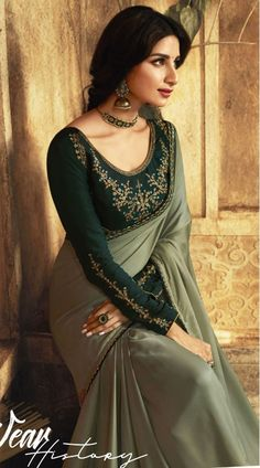 Olive Green Barfi Silk Party Wear Saree - Indian Fashion Olive Green Saree is As Picture with Resham and Zari Work. Saree Designs Party Wear, New Saree Blouse Designs, Saree Blouse Patterns, Fancy Blouse Designs, Party Wear Sarees Online, Designer Party Wear Dresses, Stylish Blouse Design, Indian Fashion Dresses, Saree Trends