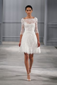 Are you looking for a short wedding dress with sleeves? We have selected a number of gorgeous short wedding dresses with sleeves. One of these chic dresses can be the dress that you are lon… Short Lace Wedding Dress, Wedding Dresses 2014, Long Sleeve Wedding, Wedding Dress Styles, Wedding Robe, Party Dresses, Dresses 2016, Backless Wedding, Wedding Hair