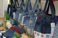 """I was always annoyed that old pairs of jeans just get thrown away. Then I startet collecting ideas for reusing this material. There are quite a few but today I wanted to show you a very simple but smart idea."