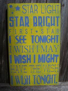 STAR Light Star Bright First Star I see Tonight- Subway Art, Valentines Gift, Childrens & Nursery Sign, Kids Room Decor. $39.95, via Etsy.