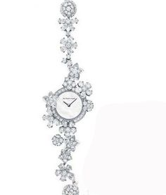 Van Cleef & Arpels Folie des Prés is just one from its range of high jewellery watches. This particular design celebrates the spirit of spring with diamonds encrusted in flower motifs. The bracelet in white gold is set in diamonds and pink and purple, or blue sapphires based on the model. The case in 18 carat white gold also varies with round diamonds and sapphires based on the design.