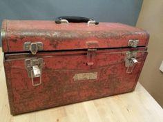 Tool Box Industrial Salvage Red Box Metal Box by VintagebyJen, $28.00