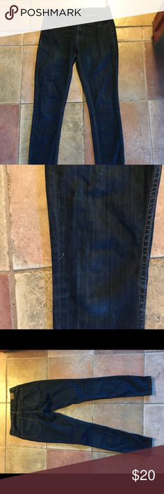 BDG twig mid-rise jeans Dark blue skinny jeans.  Size 26. Light stretch. Used but in good condition. Small snag near knee (see photo!) Wish they weren't too small for me still have a lot of life left in them. BDG Jeans Skinny