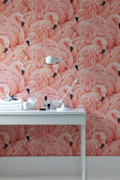 This wallpaper tho! Would look cute in a bathroom This flamingo wallpaper feels both retro and fresh at the same time. The texture of the feathers adds an unexpected depth to this wallpaper look. Inspirational Wallpapers, Interior Decorating, Interior Design, Cosy Interior, Decorating Ideas, Deco Design, Wall Treatments, Pink Flamingos, Flamingo Decor
