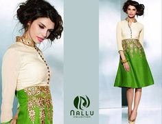 "Are you Looking for a change in your Fashion?  Nallu Collection presents you with stylish ""Parrot Green Pashmina Style Kurti"""