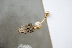 Beautiful Bronze Owl Belly Button Ring