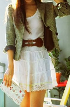 Lace Skirt With Belt And Light Olive Green Coat
