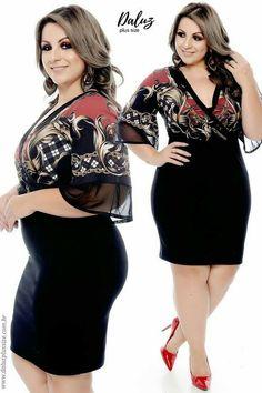 Vestido Plus Size Késila Fashion For Chubby Ladies, Curvy Women Fashion, Plus Size Fashion, Fat Girl Outfits, Curvy Outfits, Fashion Outfits, Fashionable Outfits, Fashion Tips, Plus Size Pants