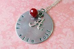 Handstamped Roll Tide Roll Alabama Crimson Tide Necklace